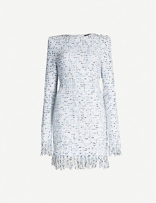BALMAIN Metallic checked-pattern tweed mini dress