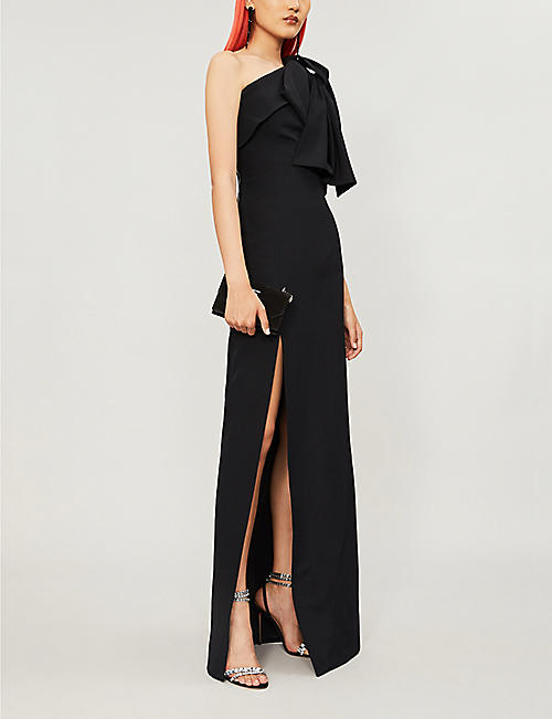 BALMAIN Asymmetric one-shoulder woven gown