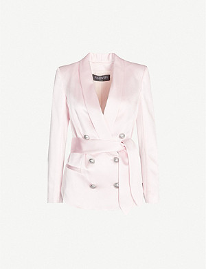 BALMAIN Shawl-lapel double-breasted satin blazer