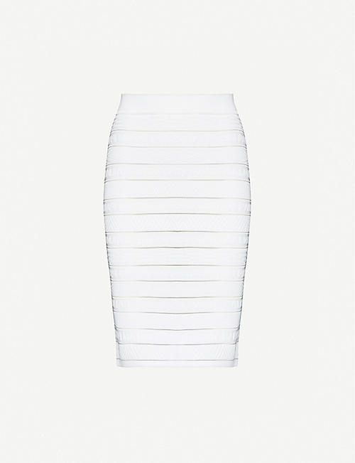 BALMAIN: Logo-embossed woven mini skirt
