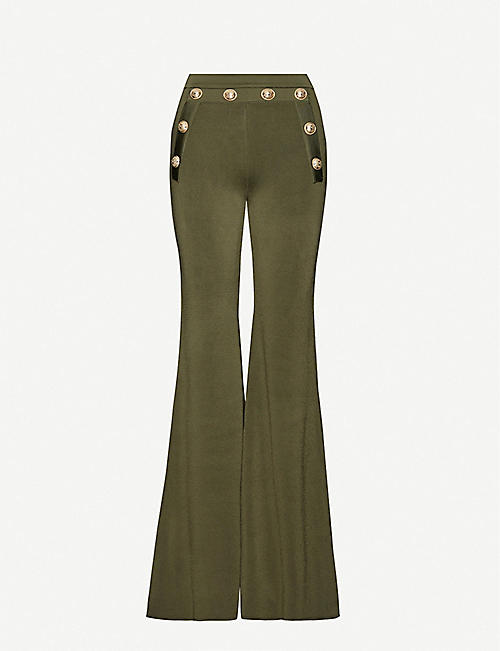 BALMAIN High-rise flared knitted trousers
