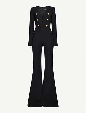 BALMAIN Button-embellished flared-leg wool jumpsuit