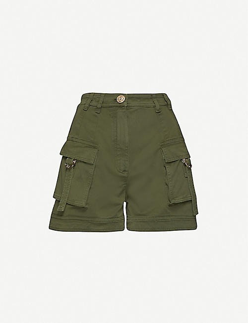 BALMAIN: Button-embellished high-rise stretch-cotton twill shorts