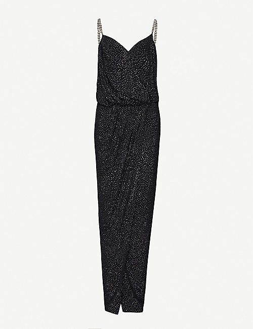 BALMAIN Bead-embellished woven maxi dress