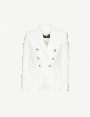 BALMAIN Double-breasted cotton-blend fuzzy tweed jacket