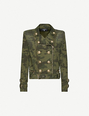 BALMAIN Camouflage-print stretch-cotton twill jacket
