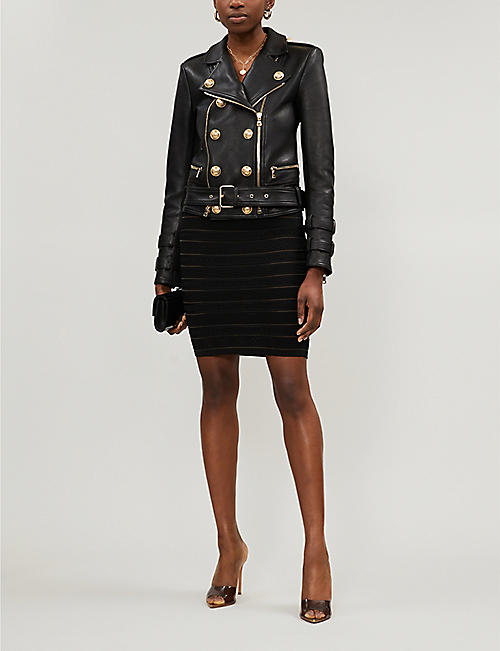 BALMAIN Double-breasted leather jacket
