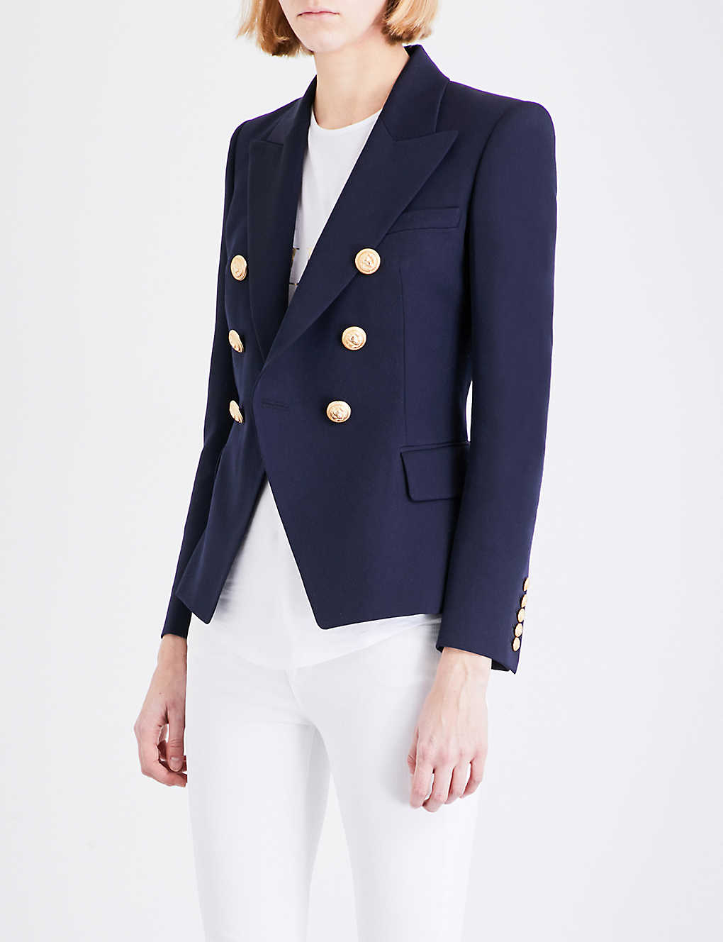 fa44c130 BALMAIN - Double-breasted wool-twill blazer | Selfridges.com