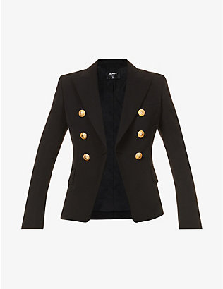 BALMAIN: Double-breasted wool-twill blazer