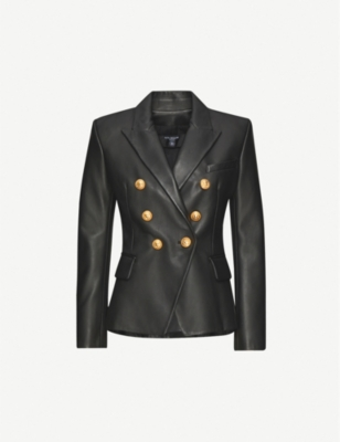 BALMAIN Double-breasted leather suit jacket