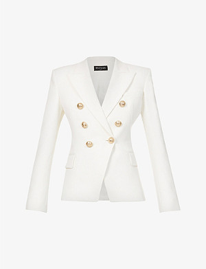 BALMAIN Double-breasted cotton-piqué jacket
