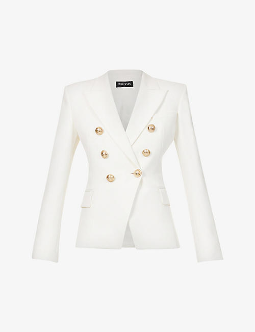 BALMAIN: Double-breasted wool blazer