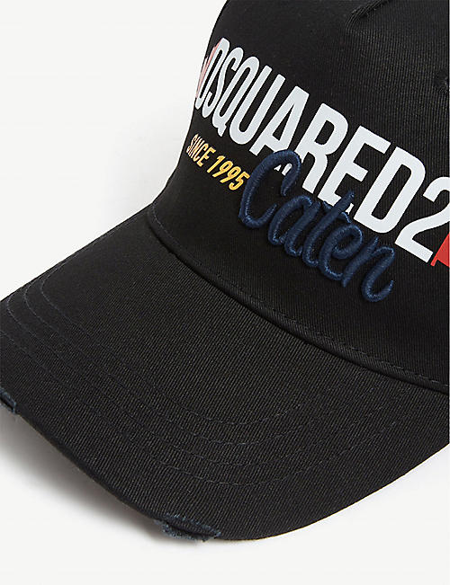 DSQUARED2 Logo print distressed baseball cap