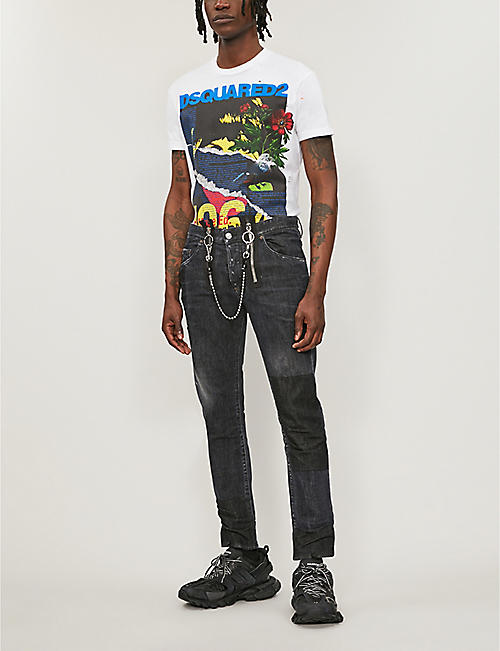 DSQUARED2 Graphic and distressed logo-print cotton shirt