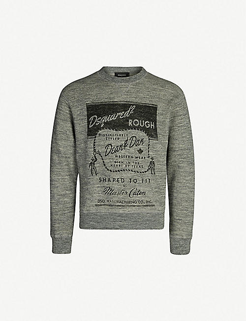 b12bd9fd6bf6 DSQUARED2 Printed marled cotton and wool-blend sweatshirt