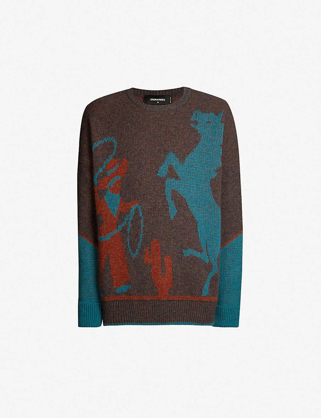 0a3dd7ba2 DSQUARED2 - Cowboy-intarsia wool jumper | Selfridges.com