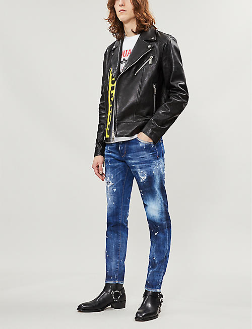 5e0860934466 DSQUARED2 Ripped faded skinny jeans