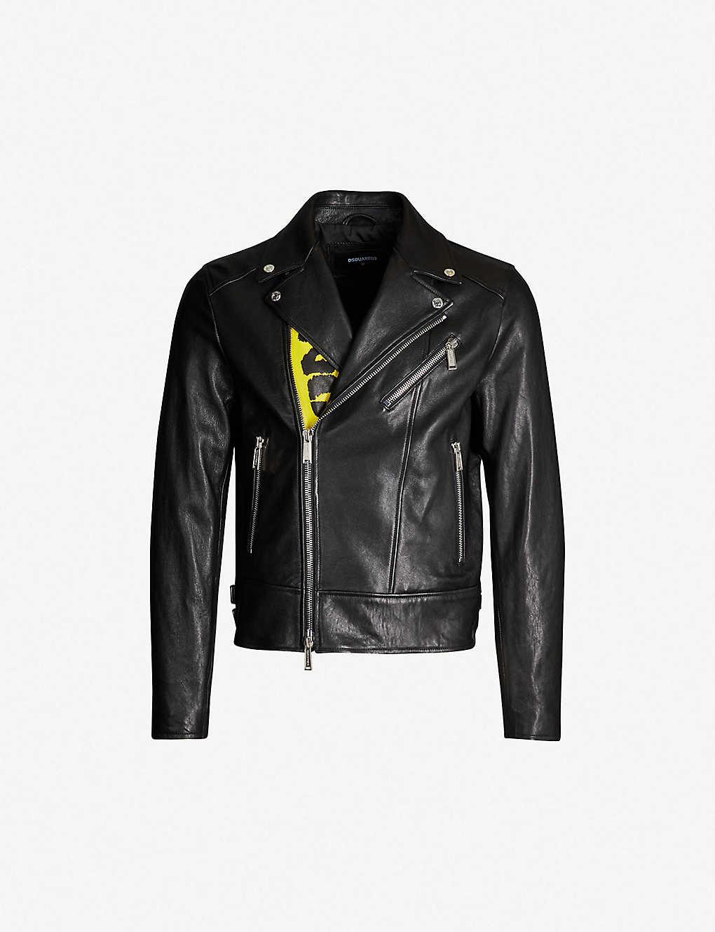 d8be29b02da DSQUARED2 - Caution-print graphic-back leather jacket