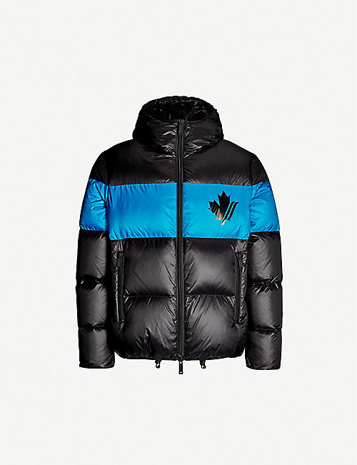 DSQUARED2 Logo-print hooded shell down jacket