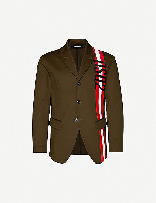 DSQUARED2 Logo-stripe stretch-cotton jacket