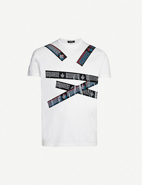 DSQUARED2 Logo-tape print cotton T-shirt