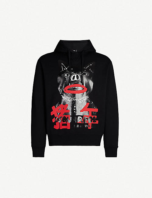 2a2ffa41685b4 DSQUARED2 Year of the Pig-print cotton-jersey hoody