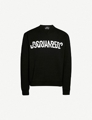 DSQUARED2 Sliced logo-print cotton-jersey sweatshirt