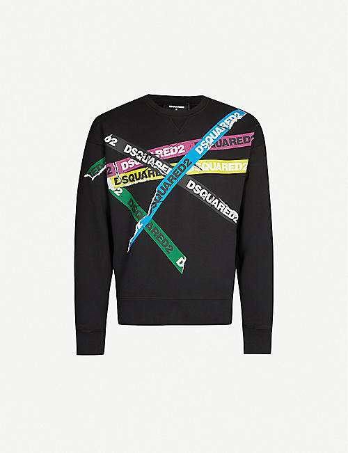 DSQUARED2 Branded-print cotton-jersey sweatshirt