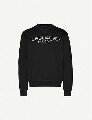 DSQUARED2 Milano crewneck cotton-jersey sweatshirt