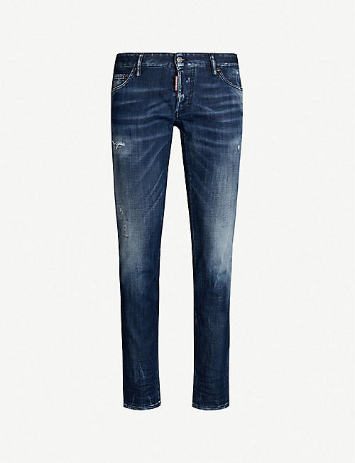 6cba64a35e DSQUARED2 Distressed slim-fit straight jeans