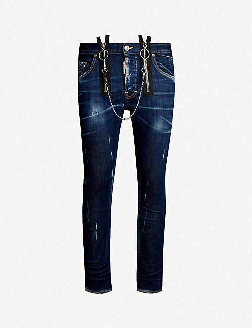 38665ce800d DSQUARED2 Double zip detail skinny jeans