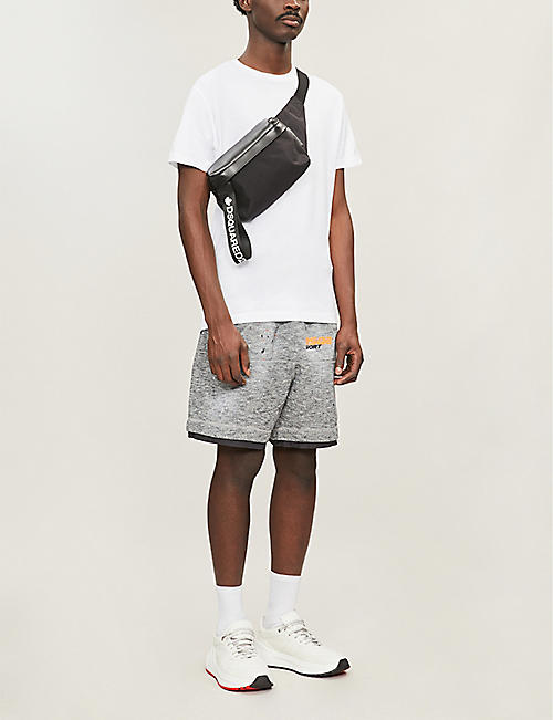 DSQUARED2 Regular-fit logo-print marled cotton-jersey shorts