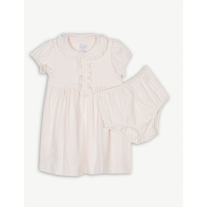 RALPH LAUREN   Ralph Lauren Embroidered Logo Cotton Dress And Under Shorts 3-24 Months, Size: 18 Months, Delicate Pink   Goxip