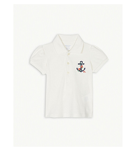 55e822d9e RALPH LAUREN - Floral anchor logo cotton polo shirt 3-24 months ...