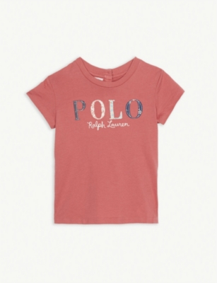 RALPH LAUREN Floral-appliqué logo cotton T-shirt 3-24 months