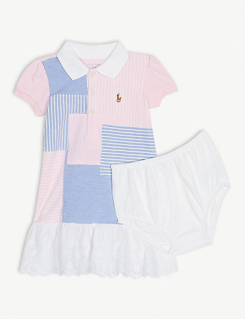 a6f09fe76ad RALPH LAUREN Patchwork frilled cotton dress and knickers 3-24 months