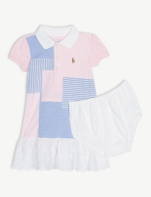 RALPH LAUREN Patchwork frilled cotton dress and knickers 3-24 months