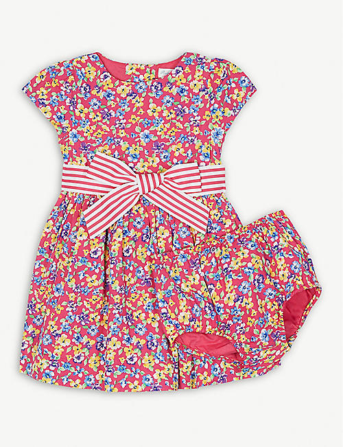 RALPH LAUREN Floral print cotton dress and bloomers set 3-18 months 4b8aec19f85