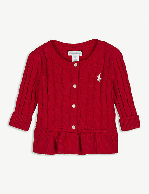 RALPH LAUREN Frilled hem cable-knit cardigan 6-24 months