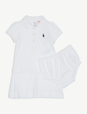 RALPH LAUREN Pleated cotton polo dress 3-24 months
