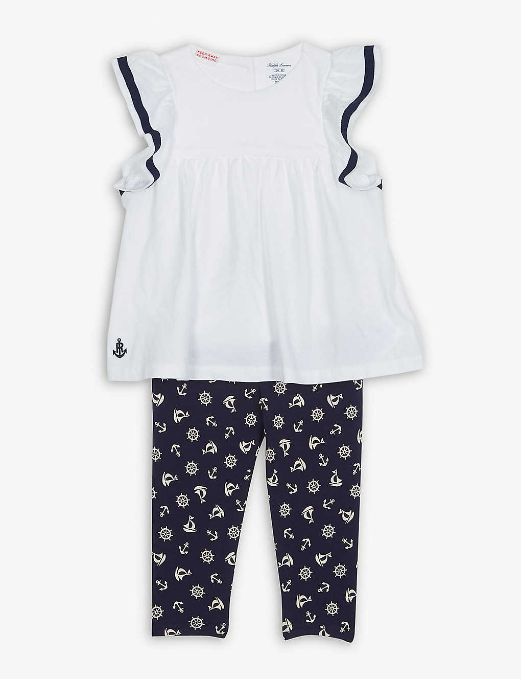 8467fdaf484ae9 RALPH LAUREN - Nautical blouse and leggings set 6-24 months ...