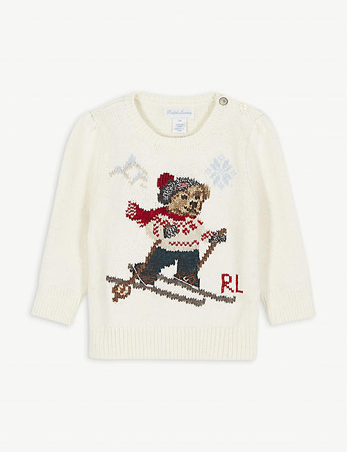 RALPH LAUREN Bear skiing cotton and wool-blend jumper 6-24 months