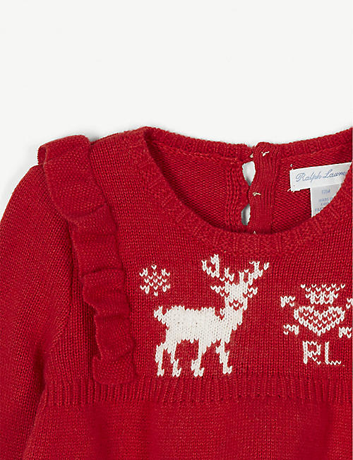 RALPH LAUREN Reindeer frill cotton dress 6-24 months