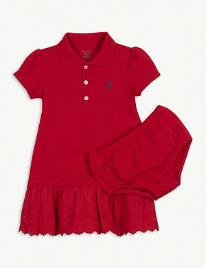 RALPH LAUREN Broderie anglaise cotton polo dress and knickers set 3-24 months
