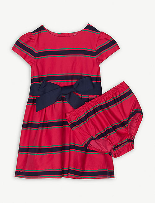 RALPH LAUREN Striped cotton dress and bloomers 3-24 months