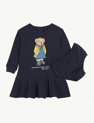 RALPH LAUREN Polo Bear cotton-blend sweater dress and knickers set 3-24 months