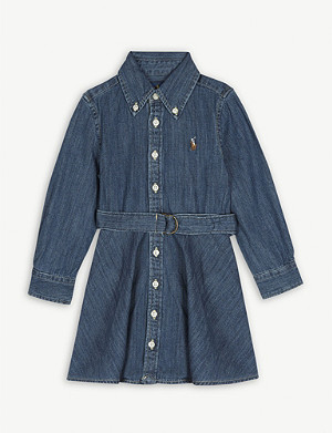 RALPH LAUREN Logo denim shirt dress 2-14 years