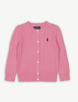 RALPH LAUREN Cable knit cotton cardigan 2-7 years