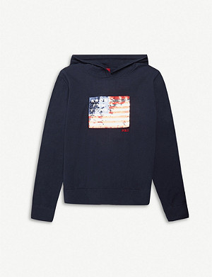 RALPH LAUREN Sequinned-flag cotton hoody
