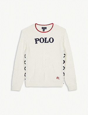 RALPH LAUREN Logo wool cable knit jumper 4-14 years